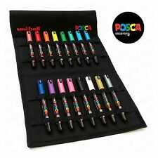 Uni Posca PC-1MR Paint Marker Art Pens - Full Range Set of 16 in Canvas Wrap