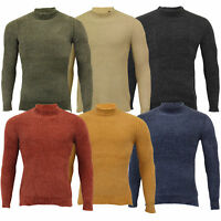 Mens Chenille Knitted Jumper Brave Soul Cable TAYLOR Turtle Neck Pullover Top
