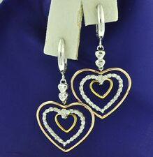 0.40 ct 14k 2 tone gold Dangling Natural Diamond Heart earring April Birthstone