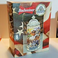 Budweiser Honoring Tradition & Courage Stein Series NAVY Lidded 2000 CS381