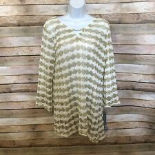 Jm Collection Gold Long Sleeve Top Blouse Nwt Size Large