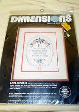 1984 NIP Dimensions LOVE ENDURES Counted Cross Stitch Elaine Cusatis 3581 9x12