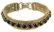 "Vintage Weiss  Light Gold Tone Snake Mesh Jet Rhinestone Bracelet 7"""
