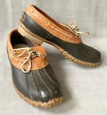 Vtg LL Bean Maine Hunting Shoes Brown leather moccasins low duck boots Mens sz 9