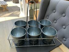 Lovely Shabby Chic/country Rustic Metal Pots In Carrier