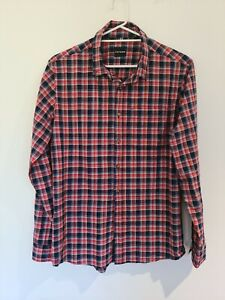Staple Superior Mens Extra Large Button Up Long Sleeve Shirt Red Navy Checks XL
