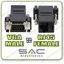 P9x1 Vga Macho A Rj45 Adaptador Hembra Ethernet Cable De Red Cat5 Cat5e Cat6 Lan