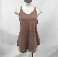 Obey Women's Muscle Tank New Clear Skies Brown Size S NWT Sun Beach Palm Tree