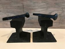 Antique Iron Railroad Train Track & Spike Book Ends