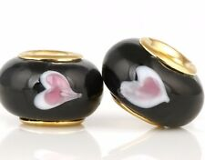 5 Beads Authentic 18k Gold Black Pink Heart Murano Glass Charm European Big Hole