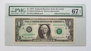 $1 <1977> FRN OFFSET PRINTING ERROR PMG 67 EPQ
