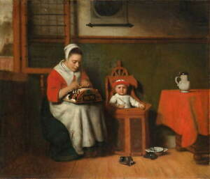 Nicolaes Maes The Lacemaker Poster Reproduction Paintings Giclee Canvas Print