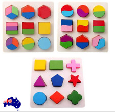 Baby Kids Montessori Early Education Wooden Learning Toys Geometry Block Puzzle