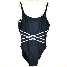 Sun Streak by Newport News Women's One Piece Swimsuit Sz 16 Navy Blue White Trim