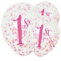 "6 X CONFETTI BALLOONS ""1ST"" BIRTHDAY GIRL. FIRST. HELIUM OR AIR FILL. 12"""