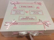 Large Personalised Twin Girls Keepsake Memory Box Perfect Christening Gift
