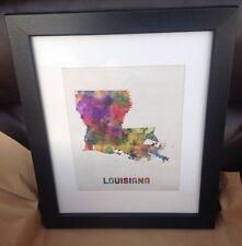 """Trademark Fine Art 11x14 """"Louisiana Map"""" Matted Framed Art By Michael Tompsett"""