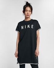 Nike Sportswear Women's Short Sleeve Dress Mesh M Black Gym Casual Training New
