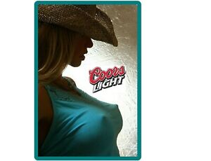 Coors Light Beer Cowgirl In Blue Top Refrigerator / Tool Box Magnet