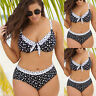 Plus Size Women Polka Dot Bikini Set Push Up Padded Beach Swim Swimwear Swimsuit