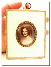 Antique 19th Century Hand Painted Miniature Portrait Celluloid & Mother Of Pearl