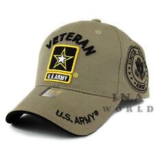 US ARMY Hat Cap Military VETERAN ARMY STRONG Licensed Baseball Cap-Khaki Beige