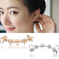 Elegant Crystal Star Flower Ear Cuff Stud Wrap Clip Gold Silver Earring Jewelry