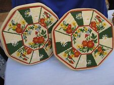 2 Needlepoint Pillows Yellow Dresden Plate Floral w MultiColor Crewel Flowers Vt