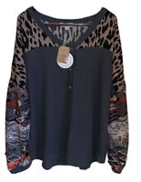 UMGEE Aztec Animal Mixed Print Long Puff Sleeve V-Neck Button Front Waffle Knit