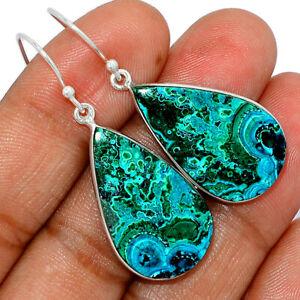 Malachite In Chrysocolla - Congo 925 Sterling Silver Earrings Jewelry BE51819