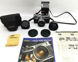 EX++ Yashica Electro 35 GSN w/ Case Lenses Alfon Flash vtg 35mm film Camera set