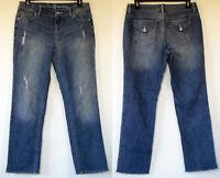 Simply Vera Wang Straight Leg Frayed Cuff Stretch Denim Blue Capri Jeans 6