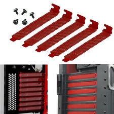 5x PCI Slot Cover Dust Filter Blanking Plate Hard Steel Red w/screws