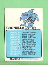 1981 Cronulla Sharks Scanlens Rugby League Checklist Card, Marked