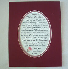 Lovely MOTHER IN LAW From DAUGHTER IN LAW Your Son THANK You verse poems plaques