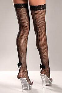 sexy BE WICKED fish net BACK SEAM mini ANKLE BOWS thigh HIGHS hi STOCKINGS nylon