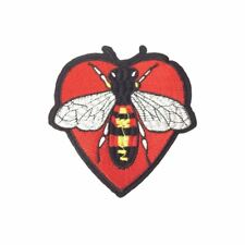 Bee Heart (Iron On) Embroidery Applique Patch Sew Iron Badge