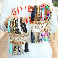 Leather Bracelet Keyring Key Chain Ring Tassel O Circle Bangle Keychain Wristlet