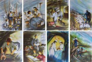 POULET Raymond : Les métiers anciens (4) - 8 LITHOGRAPHIES signées #450ex
