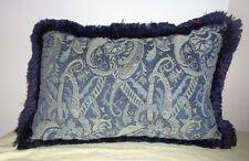 Blue Paisley Tapestry Throw Pillow Rectangular Fringe Edges Cushion Solid Back