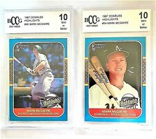 Two (2) Mark McGwire '87 Donruss HIGHLIGHTS  Graded BCCG 10  Mint