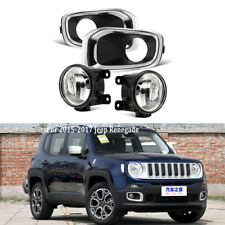 For Jeep Renegade 2015-2017 Fog Light Chrome Cover Bezel Driving Lamp Clear Lens