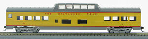 HO 72 Ft Pass. Mid-Train Dome Car, RTR Milwaukee Road (UP Yellow/Gray) (1-949)