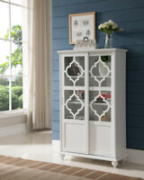 Wood Curio Bookcase Display Storage Cabinet With Glass Sliding Doors