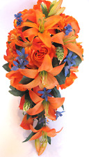 17 piece package Wedding Bouquets Bridal Silk Flowers ORANGE LILY ROYAL Blue