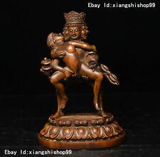 """6"""" Tibet Boxwood Wood Carved Vajrayogini Vajravarahi Kalachakra Buddha Statue"""