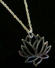 "Large Open Lotus Necklace 24"" Twisted Rope Silver Plate"