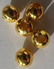 Bisutería 20 Perlas de Metal Aleación Perla 8mm Color Dorado Cadena Perlas Bola