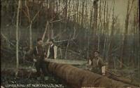 Northville NY Lumbering Lumberjacks Logging Saw Men c1910 Postcard