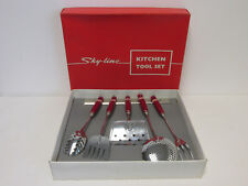 Retro Boxed Sky-Line Five Piece Kitchen Utensil Tool Set with Hanging Rack